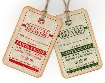 Christmas Gift Tags - Special Delivery From Santa Christmas Tags Set of 6