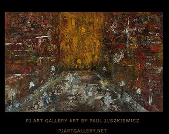New York Boulevard abstract knife painting Paul Juszkiewicz texture red brown brow cognac city street view impasto