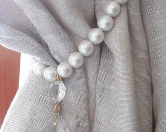 Decorative curtain tieback with faux pearls and vintage glass drop - drapery holder - tie backs curtain