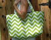 Pollyanna's Tote in Chartreuse Chevron- RESERVED LISTING for HCohoon