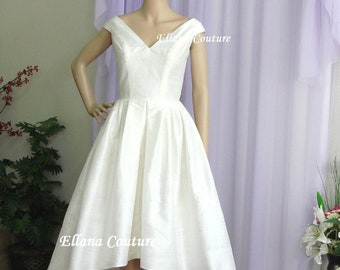 Lily - Vintage Inspired Wedding Dress. High Low Hem. Gorgeous Doupioni SILK.