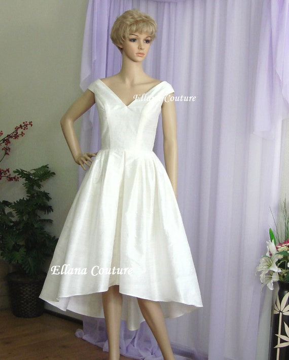 Lily Vintage Inspired Wedding Dress. High Low Hem. Gorgeous