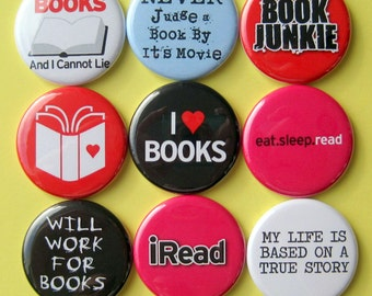 Book Lover Magnets - Set of Nine 1.25 Inch Button Magnets Packaged in a Custom Box
