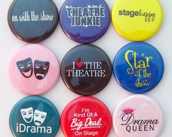 Theatre Magnets - Acting - Set of Nine 1.25 Inch Button Magnets Packaged in a Custom Box