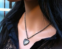 Sale Black Antique Heart Locket Necklace - Free of Charge Choose your length