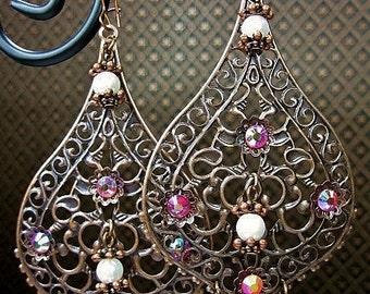 Gypsy Cowgirl Copper Filigree Dangle Chandelier Earrings - CoPPeR PeaRL DeLighTS