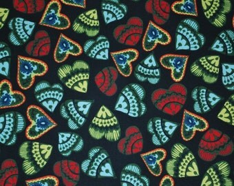 Folk Heart Hearts by Sara Trail for Fabri-Quilt -- Full or Half Yard Folk Art Heart Quilt Fabric