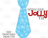 Christmas in July 1 Little Guy Jolly Tie Blue and White Snowflake Iron On Tie Decal, baby tie, boy Christmas Iron on tie for onesies shirts