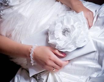 Bridal Clutch White Flower Wedding Purse