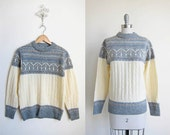 Vintage Sweater/ Gray Cable Knit/ In The Foothills