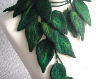 Felted Flower, Hand Felted, Wool Jewelry felted  necklace-  green  leafs-