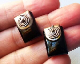 ONYX EARRINGS, Sterling Silver Earrings ,  Black Onyx Aztec art Earrings, 925 Silver Onyx Earrings , post earrings by Taneesi Jewelry