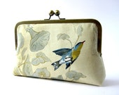 Last One-Bird on a branch in silk lining Clutch, Bag Noir Handmade in Ireland, wedding / party / evening clutch
