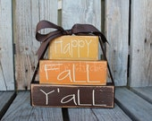 Primitive Autumn Happy Fall Y'aLL Wood block set  fall autumn pumpkin home seasonal decor thanksgiving personalized gift