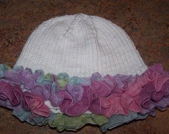 White  Ruffled Baby Hat