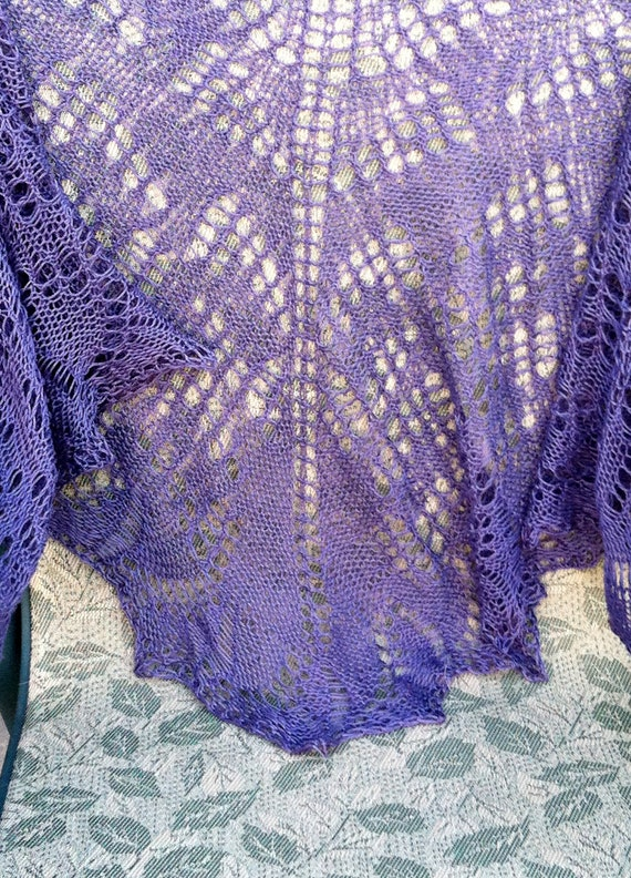 Hold for Sue Clearance Priced Harvest Grape Clusters Hand Knitted Lace Pima Cotton Shawl