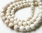 "White Gemstone Round Beads - Turquoise Howlite -Smooth Drilled Brown Matrix Beads - 6mm - 16"" Strand - Diy Jewelry Making"