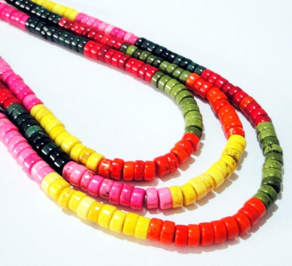 Multicolored  Magnesite Coin Disc Heishi Beads /16 Inch strand 6mm x3mm