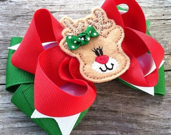 Reindeer Hair Bow, Christmas Hair Bow, Red and Green Hair Bow, Holiday Hair Bow, Felt Reindeer Hair Bow, Christmas Layered Hair Bow