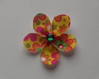 Yellow with orange, green, & pink large flower hair alligator clip with green bling faceted rhinestone