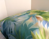 Dog Bed Cover  Tropical Watercolor Print Indoor/Outdoor Blues Greens 30 square