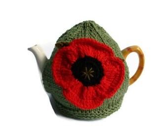 tea cosy cosie cozy with crochet poppy