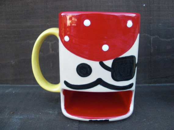 Pirate Ceramic Cookies and Milk Dunk Mug - Complete with Eyepatch, Earring Handle, and Mustache
