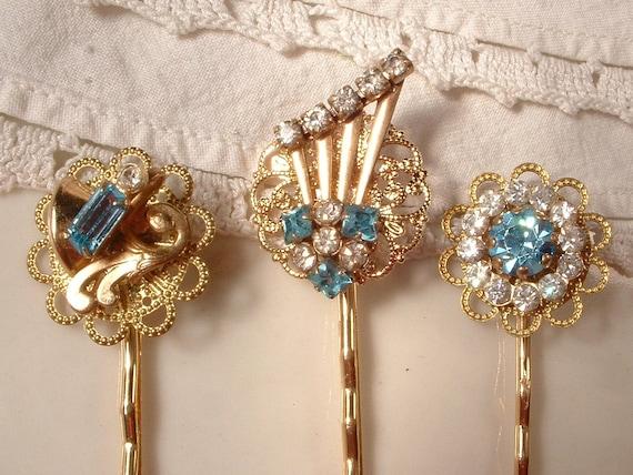 OOAK Vintage Turquoise / Aqua Blue Rhinestone Bridal Hair Pins - 22K Gold Plated Heirloom Hair Clips Set of 3, Bridesmaids Gift