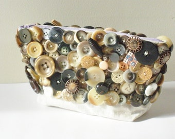 Neutral Clutch- Neutral Color Handbag- Button Covered Bag, Woodland