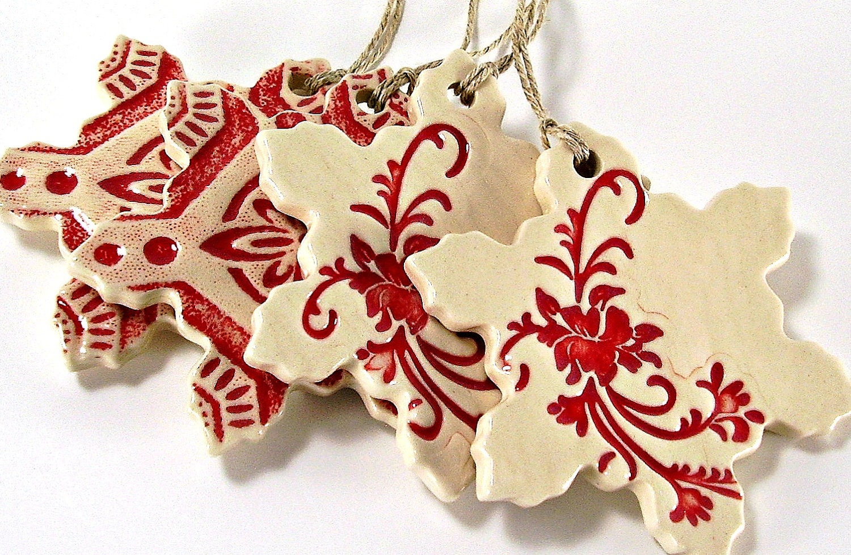 Ceramic snowflake christmas ornament holiday gift