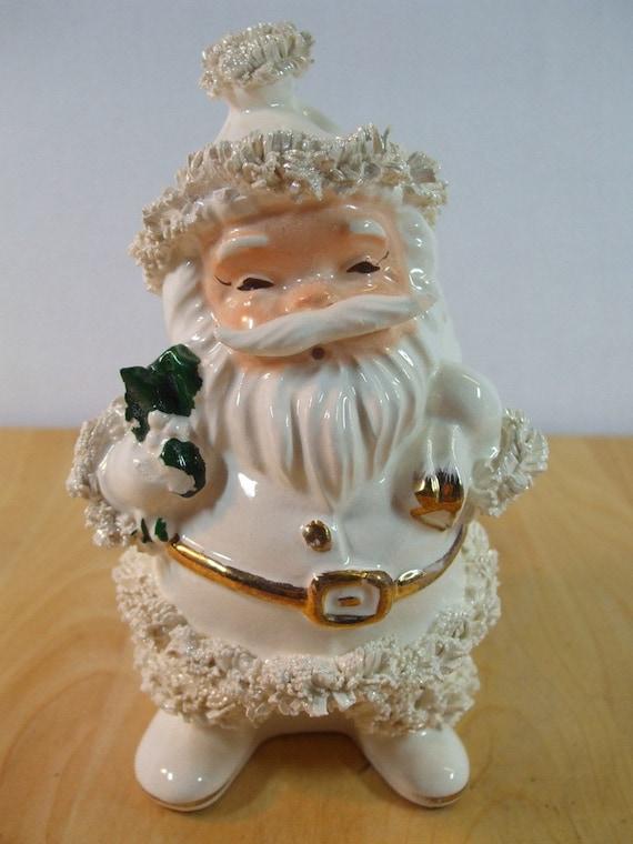 Vintage Santa Chritmas Planter Napco White