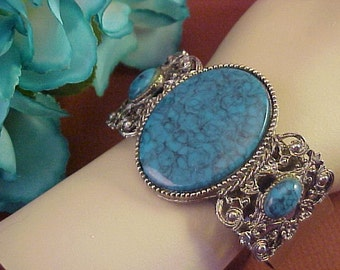 Vintage Large Designed Faux Turquoise and Silvertone Cuff Bracelet