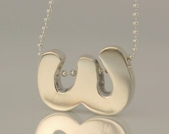 Small Letter W Necklace, Sterling Silver Letter, Diamond Cut Silver Bead Chain