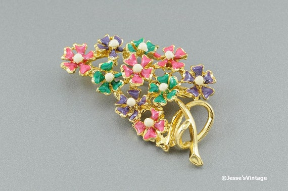 Reserved for Jill and Sharon... Floral Brooch Pin Pastel Enamel Gold Tone