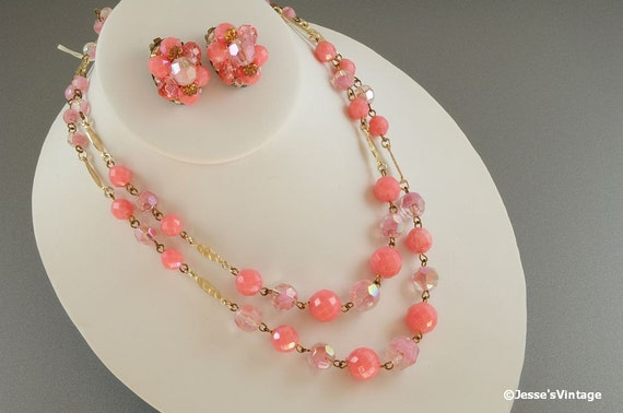 Reserved or Jill and Sharon... Pink Necklace Multi Strand Plastic & Glass Givre Beads