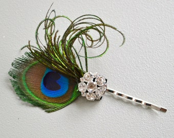 Peacock feather headpin