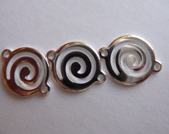Link, Silver Plated, Brass, 13mm, round, swirl, Pkg Of 8