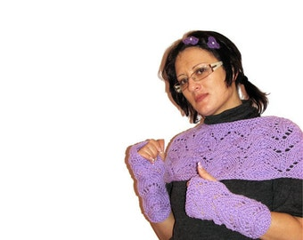 Hand Knitted Purple Warmers, Knitted Set of Shoulders and Wrist Warmers, Knitted Purple Fingerless Gloves, Purple Scarf, Purple Shawl