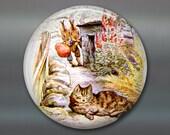 cute bunny magnet, beatrix potter fridge magnet, bunny decor, large children's magnet, oversize magnet  MA-115