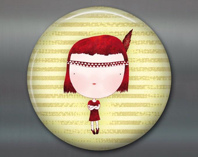 """3.5"""" cute girl fridge magnet, little girl decor, gift for kids, kitchen decor, big fridge magnet, large magnet  MA-106"""