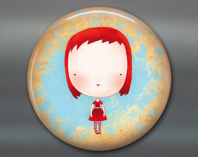 """3.5"""" large fridge magnet, girl fridge magnet, little girl decor, kitchen decor, refrigerator magnet, stocking stuffer   MA-107"""