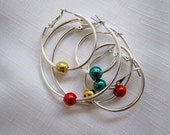 Set of 3 beaded silver hoop earrings