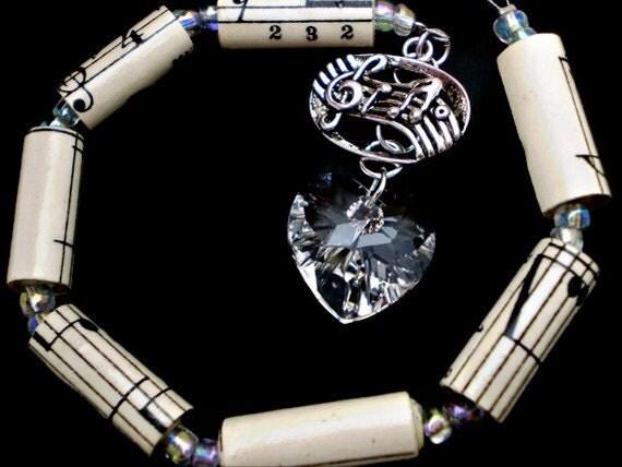 I Heart Music Car Charm w/Swarovski Crystal Heart & Antiqued Silver Music Charm