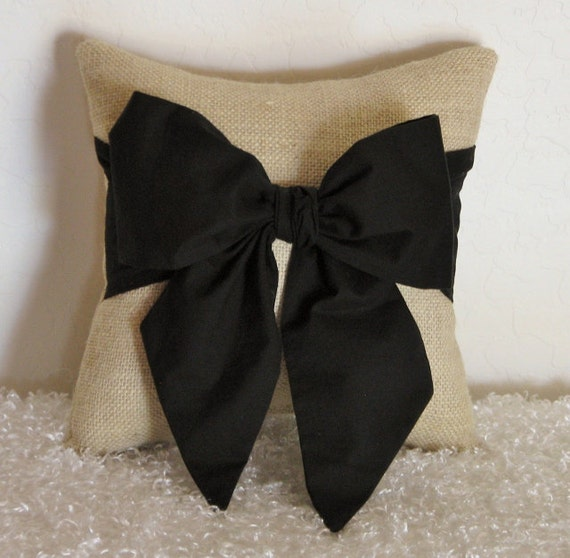 Throw Pillow With Bow : Burlap Black Bow Throw/Accent Pillow by pillowsbycindee at