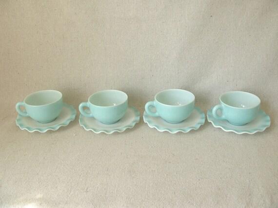 Reserved for Kerry Hazel Atlas Aqua Crinoline Cups and Saucers