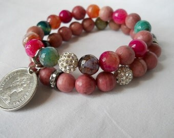 Spring Blend Duo with Silver Coin Charm