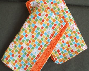 Burp Towels - African Animal Flannel Print and Bright Orange Dimple Minky (set of 2)
