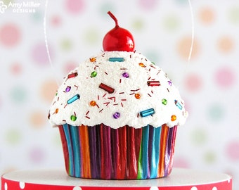 Cupcake Ornament / Christmas Ornament  - Mini Multi Stripe  #CUP205