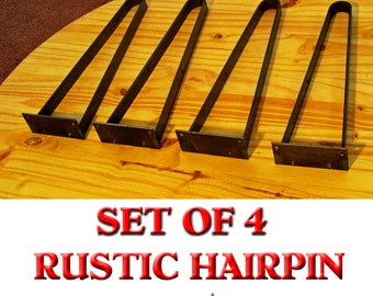Rustic Flat Iron Hairpin Legs: 15.75 High, Coffee Table, TV Stand, Bench, End Table, Unfinished set of 4 legs.