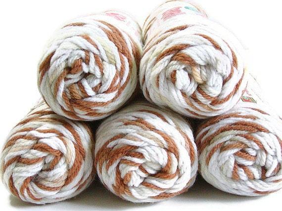 Yarn, Yarn Lot, Vintage, Acrylic, Crochet, Knit, Variegated, Multi-Colored, 5 Skeins, Brown, Cream, Tan, Supply Yarn